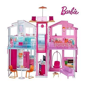 Barbie Mobilier Grande Maison De Poupée De Luxe à 2 étages Et 4 Pièces Dont  Cuisine