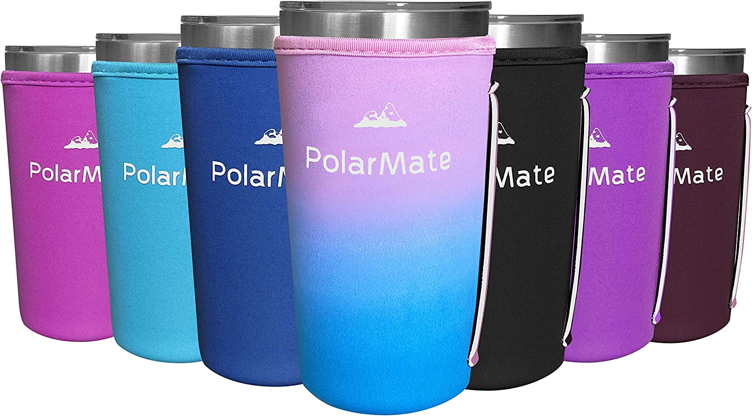 1 Pack Neoprene Tumbler Sleeves with Strap Handle | Insulator Tumblers Sleeve for Cold and Hot Drinks Beverages | Neoprene Tumbler Holder (Ombre, 20 oz)