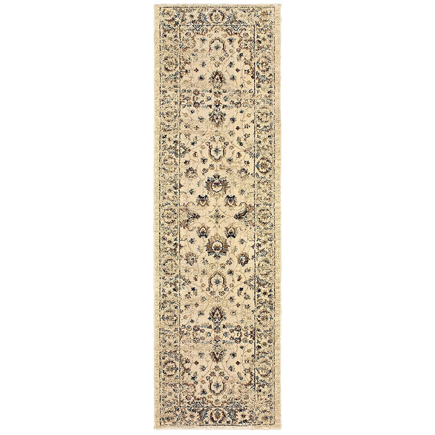 Christopher Knight Home CK-4W411 Emerald Border Indoor Runner 2ft 3in X 7ft 6in Ivory Gold