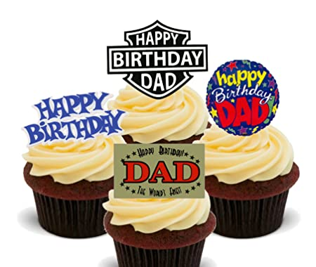 Made4You Happy Birthday Dad Edible Cupcake Toppers