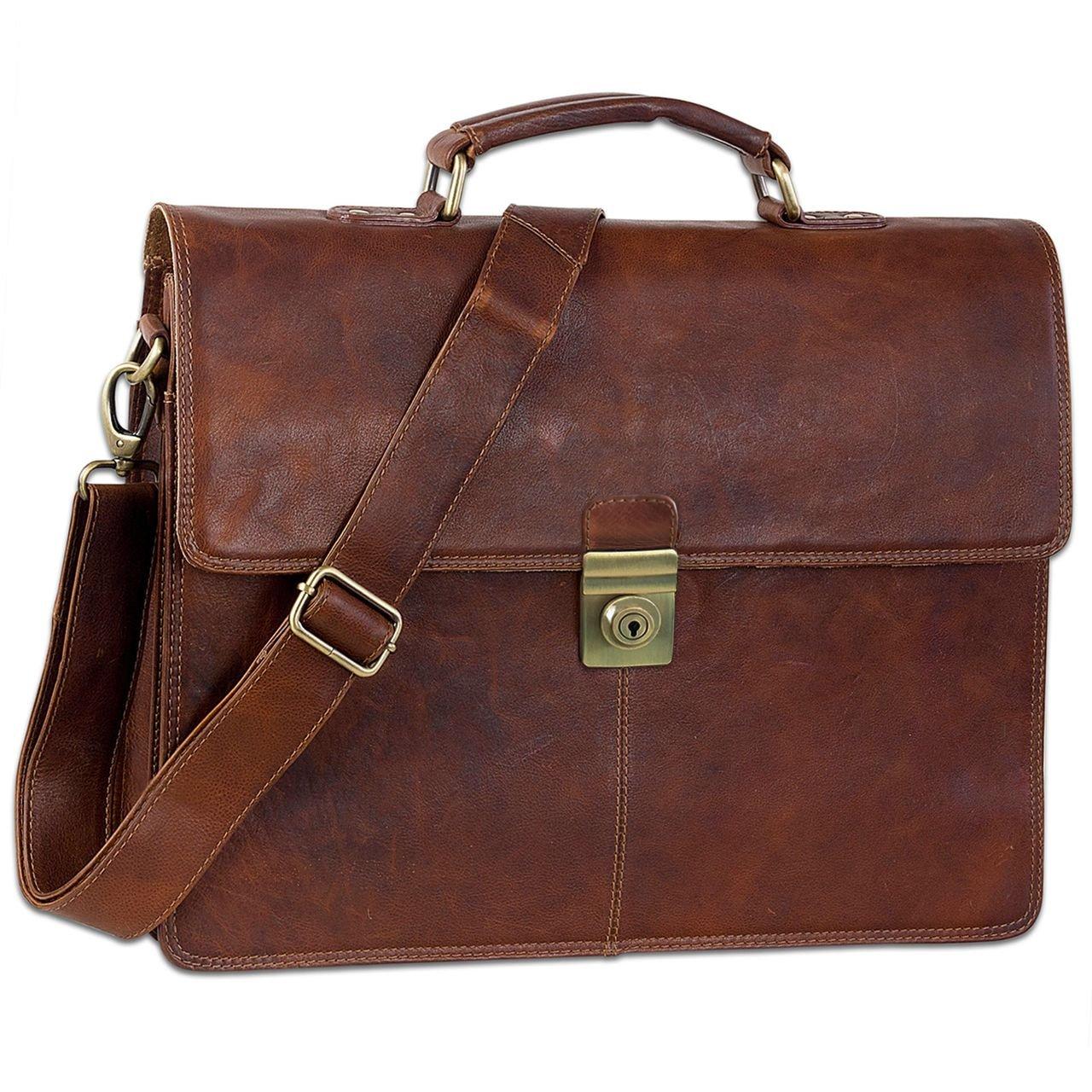 STILORD 'Theodor' Herren Aktentasche Leder Dokumententasche Laptoptasche Business Büro Tasche mit Schultergurt Klassisch Vintage, Farbe:Prestige - braun