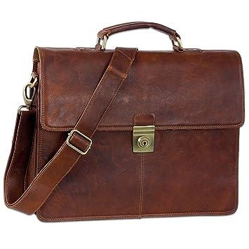4a48ac643f093 STILORD  Theodor  Herren Aktentasche Leder Dokumententasche Laptoptasche  Business Büro Tasche mit Schultergurt Klassisch Vintage