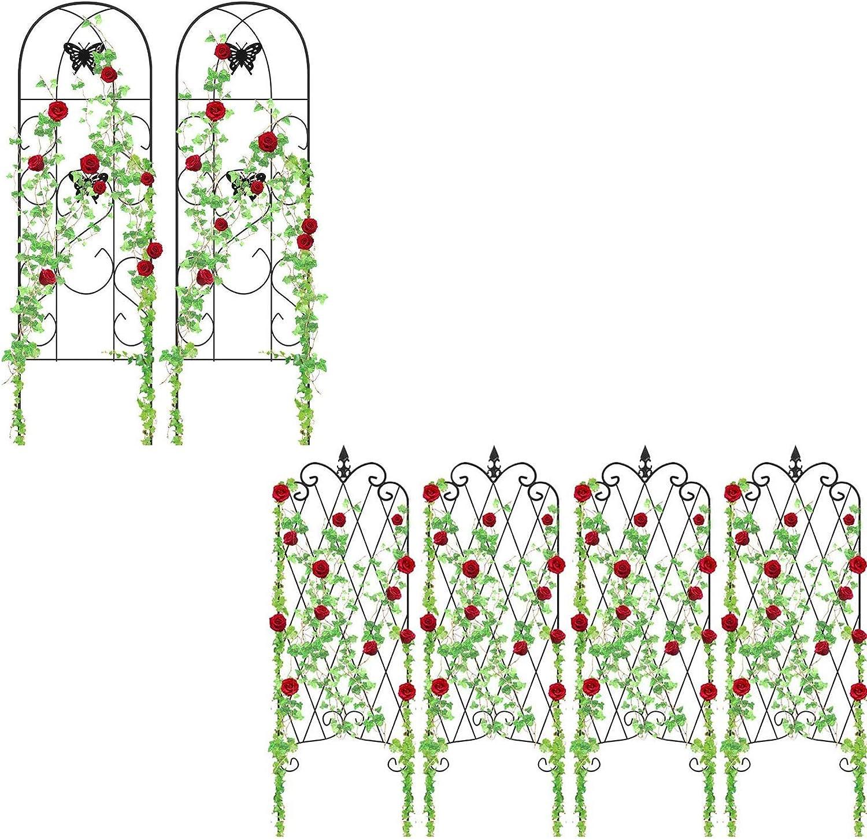 "Amagabeli 2 Pack Garden Trellis 60"" x 18""& 4 Pack Garden Trellis for Climbing Plants 47"" x 16"" Bundle"