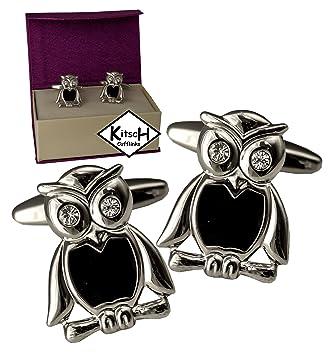 Mancuernas de aves - Gemelos con ojos de cristal - búho presentada en estuche de regalo mancuerna magnético: Amazon.es: Hogar