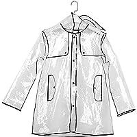 Chubasquero corto con capucha para mujer, transparente (tallas