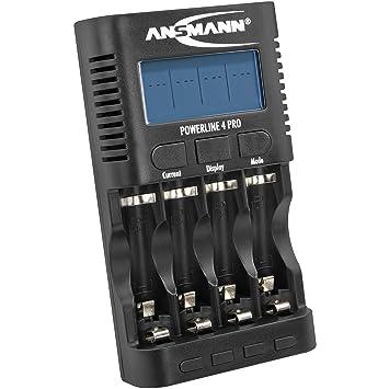 ANSMANN Cargador universal de baterías Powerline 4 Pro - Cargador de pilas con 4 ranuras multifunción - Para pilas recargables AA AAA y NiMH NiCd