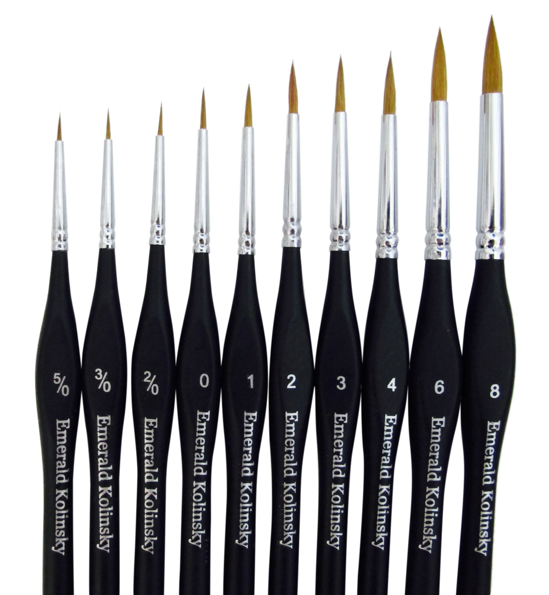Best Professional Siberian Kolinsky Sable Detail Paint Brush, Value Set of 10, High Quality Miniature Brushes Will Keep a Fine Point and Spring, For Watercolor, Oil, Acrylic, Nail Art & Models by Emerald Art Supply