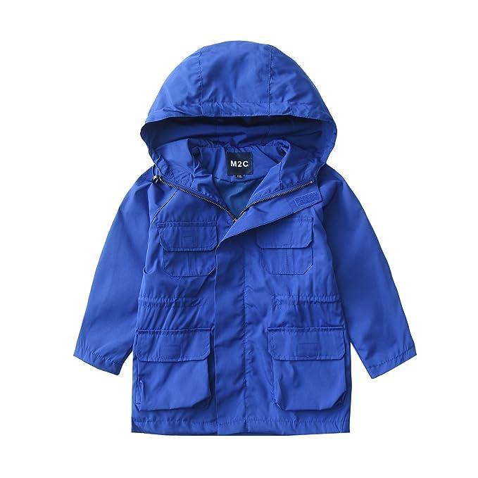 M2C Niños Unisexo Gabardina Rompevientos Cortavientos Abrigo a Prueba de Viento con Capucha (Azul,