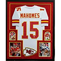 $799 » Patrick Mahomes Kansas City Chiefs Autograph Signed Custom Framed White Jersey SUPER BOWL LIV Edition With Game Photos Full Suede Matted…