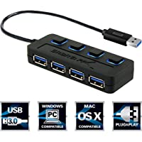 Sabrent 4-Port USB 3.0 Hub with Individual Power Switches & LEDs