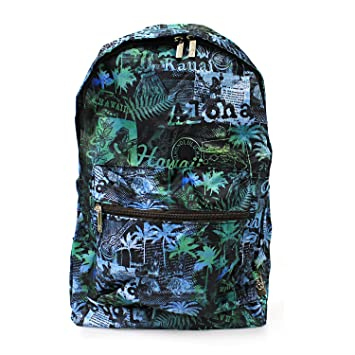 Amazon.com | Hawaiian Print Foldable Easy Fold Backpack in Hula Girl Palm Ukulele Patch Print in Blue | Casual Daypacks