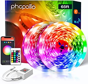 PHOPOLLO WiFi Smart Led Lights for Bedroom 65.6 ft Voice Control Ambience by Alexa Google Assistant Led String Lights Phone App Control Music Sync Hands Free Color Changing 5050 Led Ribbon