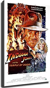 GREAT Modern Wall Poster Art Print Oil Painting on Canvas Home Decor Wall Decoration Canvas Art Indiana Jones and the Temple of Doom Movie Poster (Framed-Ready to Hang,12×18inch)