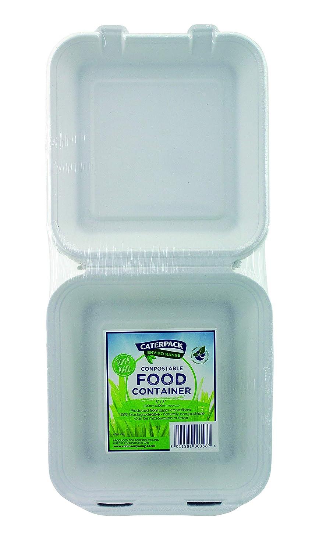 Made from Bagasse Caterpack Enviro bianco naturale contenitori per alimenti confezione da 50/| | 50/unit/à Sugarcane Pulp 20,3/x 20,3/cm 100/% ecologici biodegradabili