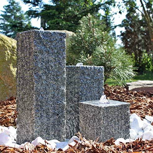 CLGarden Granit Springbrunnen SB2 - 3 teiliger Säulenbrunnen ...