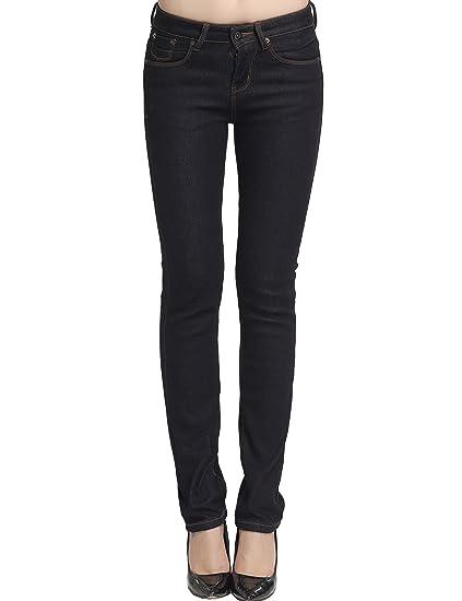 Camii Mia Damen Jeanshose Slim Fit Jeans Fleece Gefürttert Denim Hose Trousers
