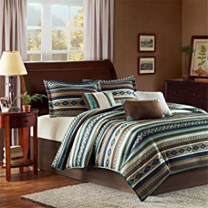 Madison Park Malone King Size Bed Comforter Set Bed in A Bag - Blue, Brown, Southwestern Pattern, Fair Isle – 7 Pieces Bedding Sets – Micro Herringbone Fabric Bedroom Comforters