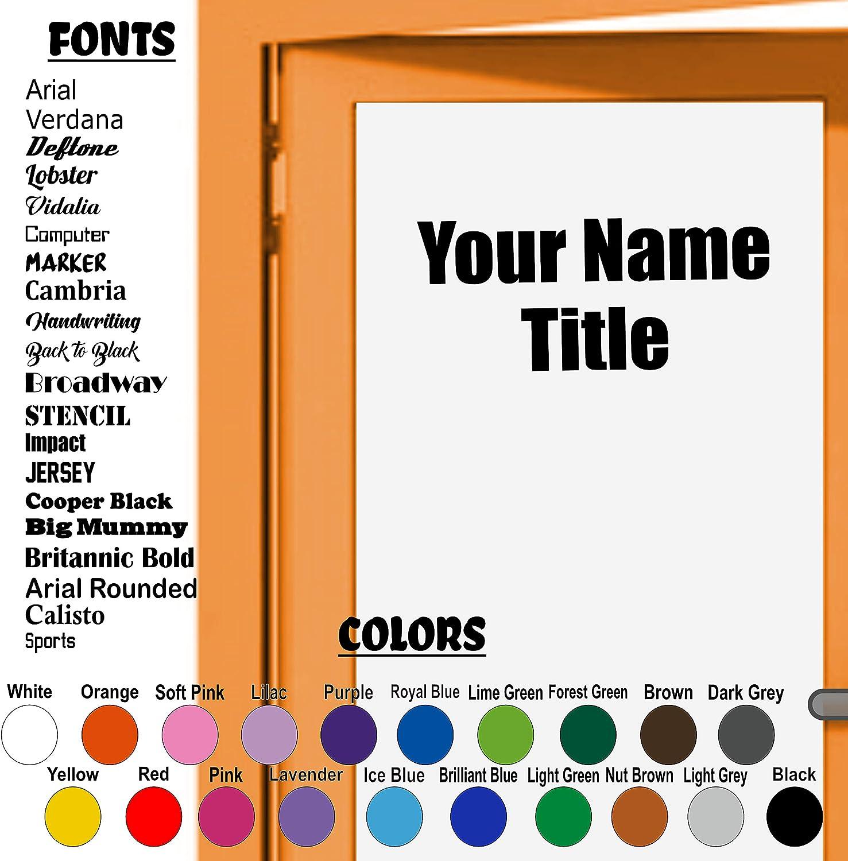 Custom Decal Business Door Vinyl Sticker, Custom Name and Title, Employees, Management, Vinyl Sticker Wall Door Decal, School, Office Decor, Business Decal Sticker, Come in, Welcome, Sticker. 2 Lines