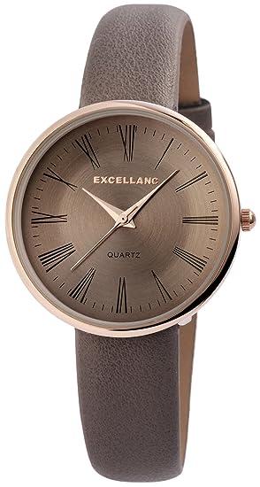 Reloj mujer gris oro números romanos Analógico de Cuarzo Piel Reloj de pulsera: Amazon.es: Relojes