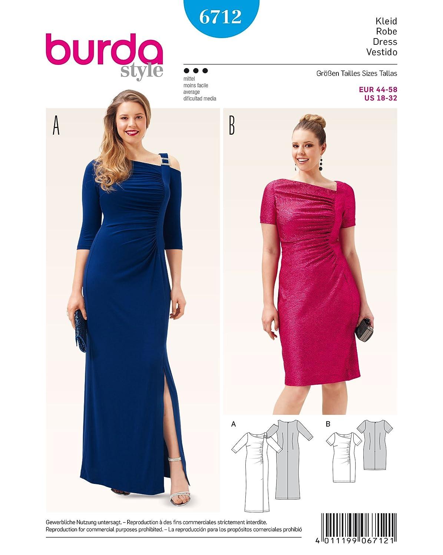 Burda 6712 Schnittmuster Abend-Kleid (Damen, Gr. 44-58) Level 3 ...