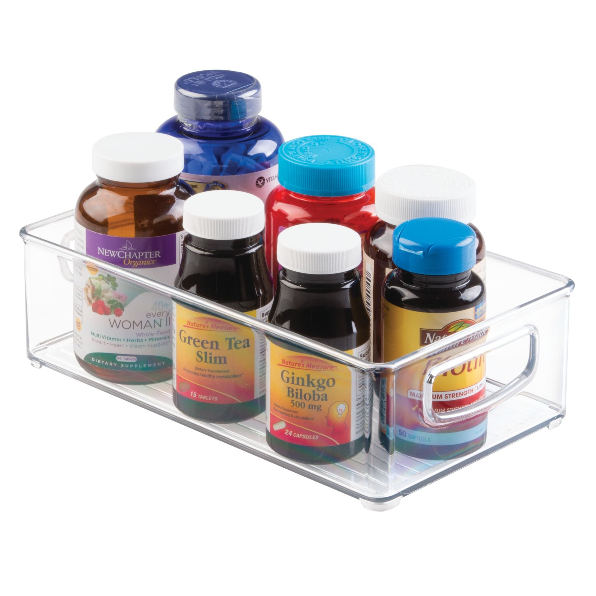 mDesign Stackable Storage Organizer Bin Tray with Built-in Handles - Holds Vitamins, Supplements, Serums, Essential Oils, Medical Supplies, First Aid Supplies - 3'' High - Pack of 2, Clear by mDesign (Image #5)