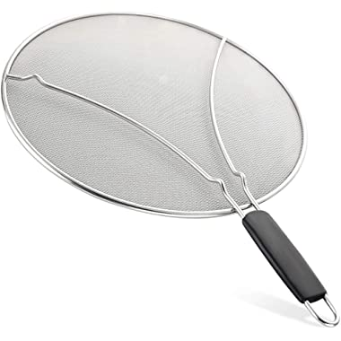Splatter Screen for Frying Pan - Stops Almost 100% of Hot Oil Splash - Large 13  Stainless Steel Grease Guard Shield and Catcher- Keeps Stove and Pans Clean & Prevents Burns When Cooking by Zulay