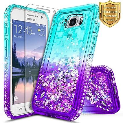 Amazon.com: Carcasa activa para Galaxy S6 con purpurina ...