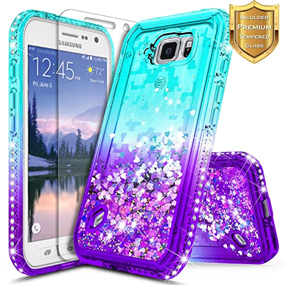 huge selection of 8e4e0 84c57 Galaxy S6 Active Case w/[Tempered Glass Screen Protector], NageBee Glitter  Liquid Quicksand Waterfall Flowing Sparkle Bling Diamond Girls Cute Case ...