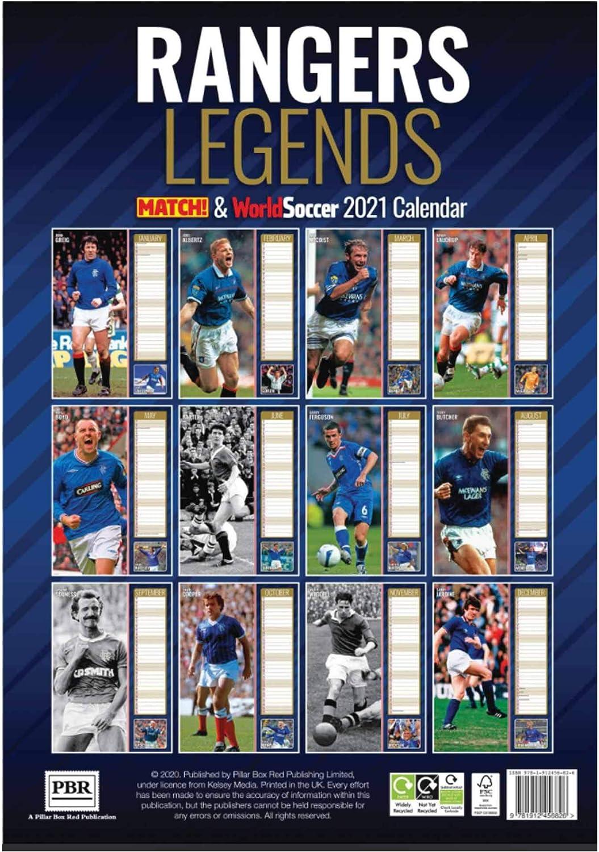 Rangers Football Club Player Legends 2021 Wall Calendar A3