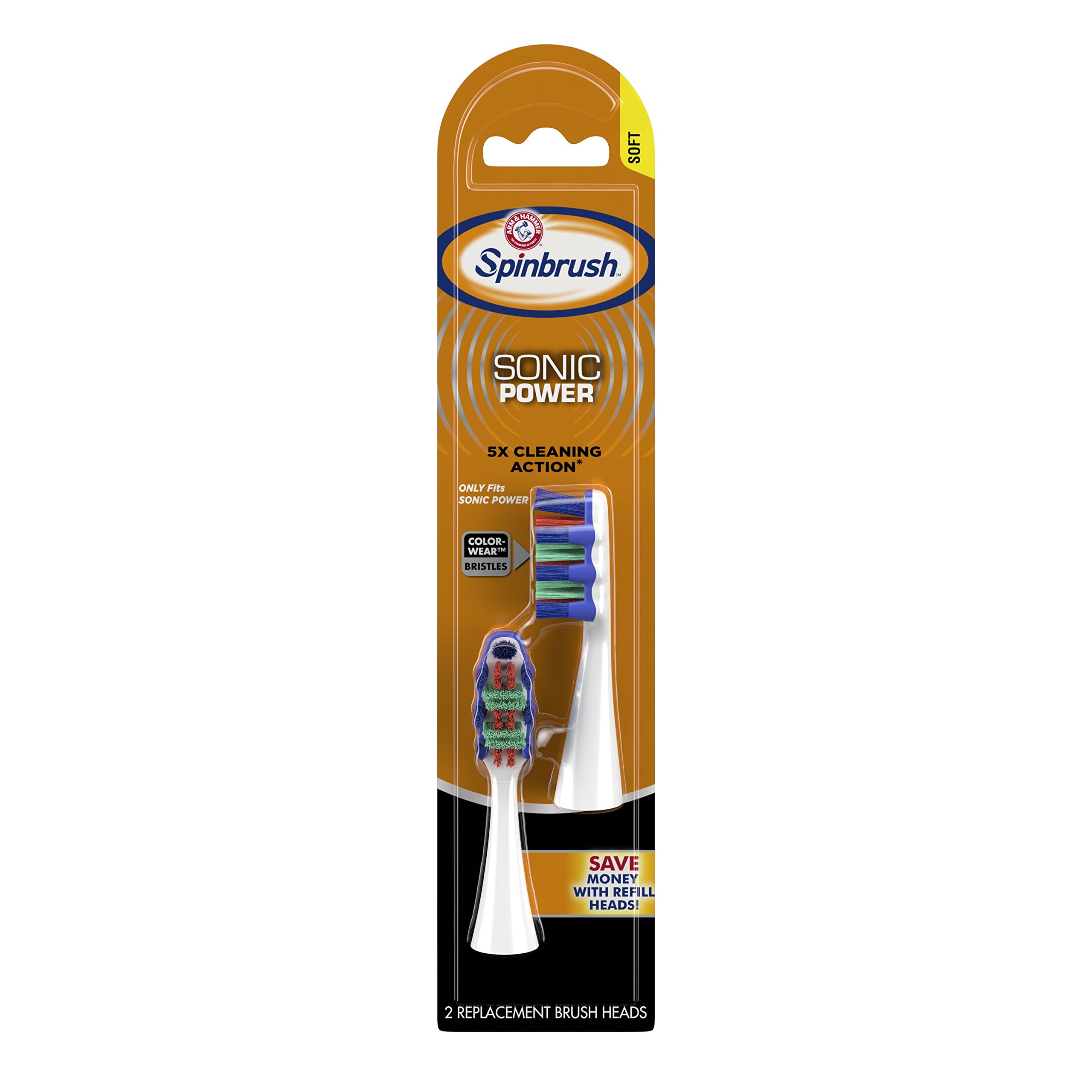 Spinbrush Sonic Power Truly Radiant Soft Replacement Brush Heads, 2 Heads (Packaging May Vary)