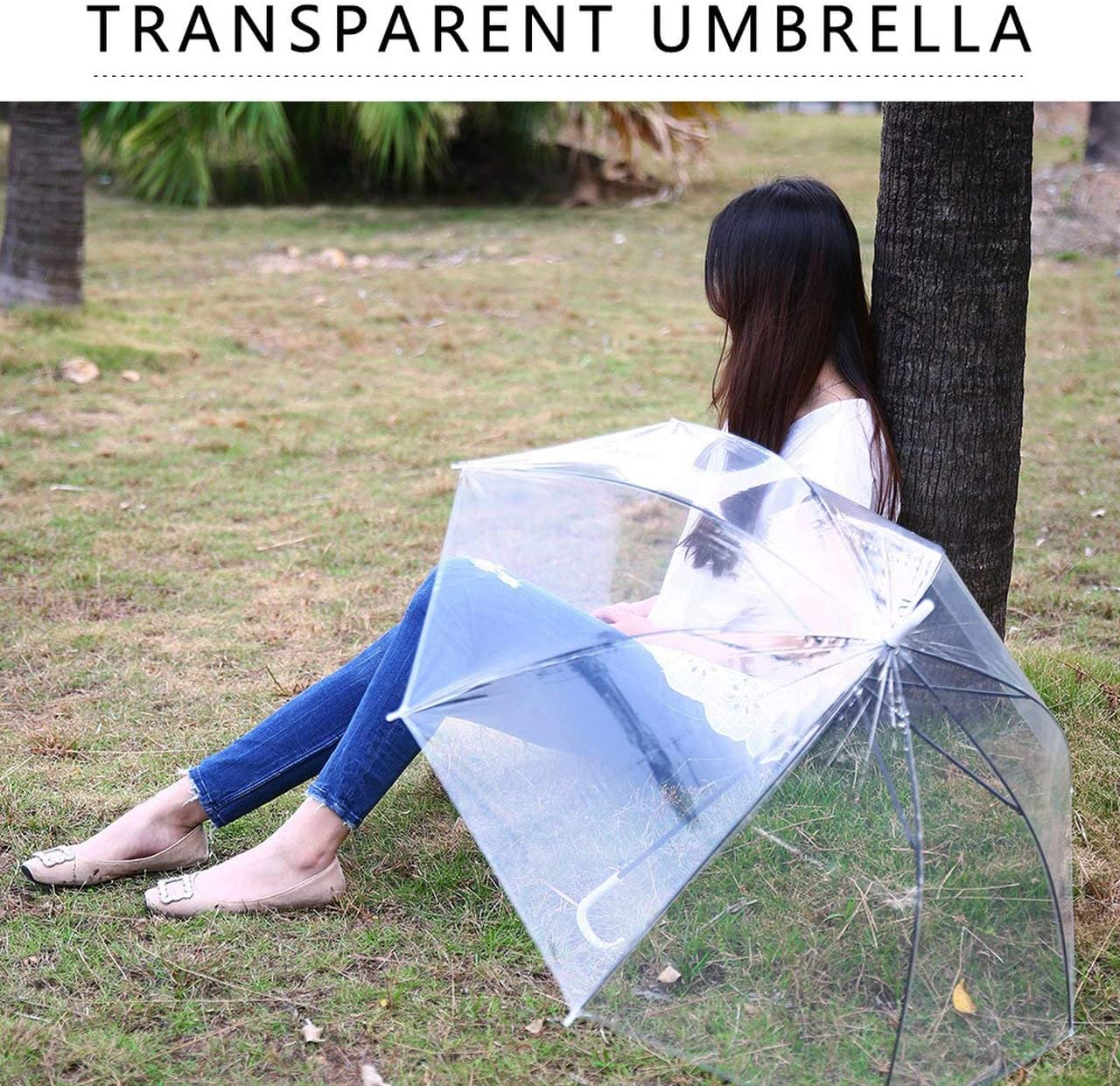 Windproof Fashion Transparent Clear Automatic Umbrella Parasol For Wedding Party Favor Stand Inside Out Rain Protecting