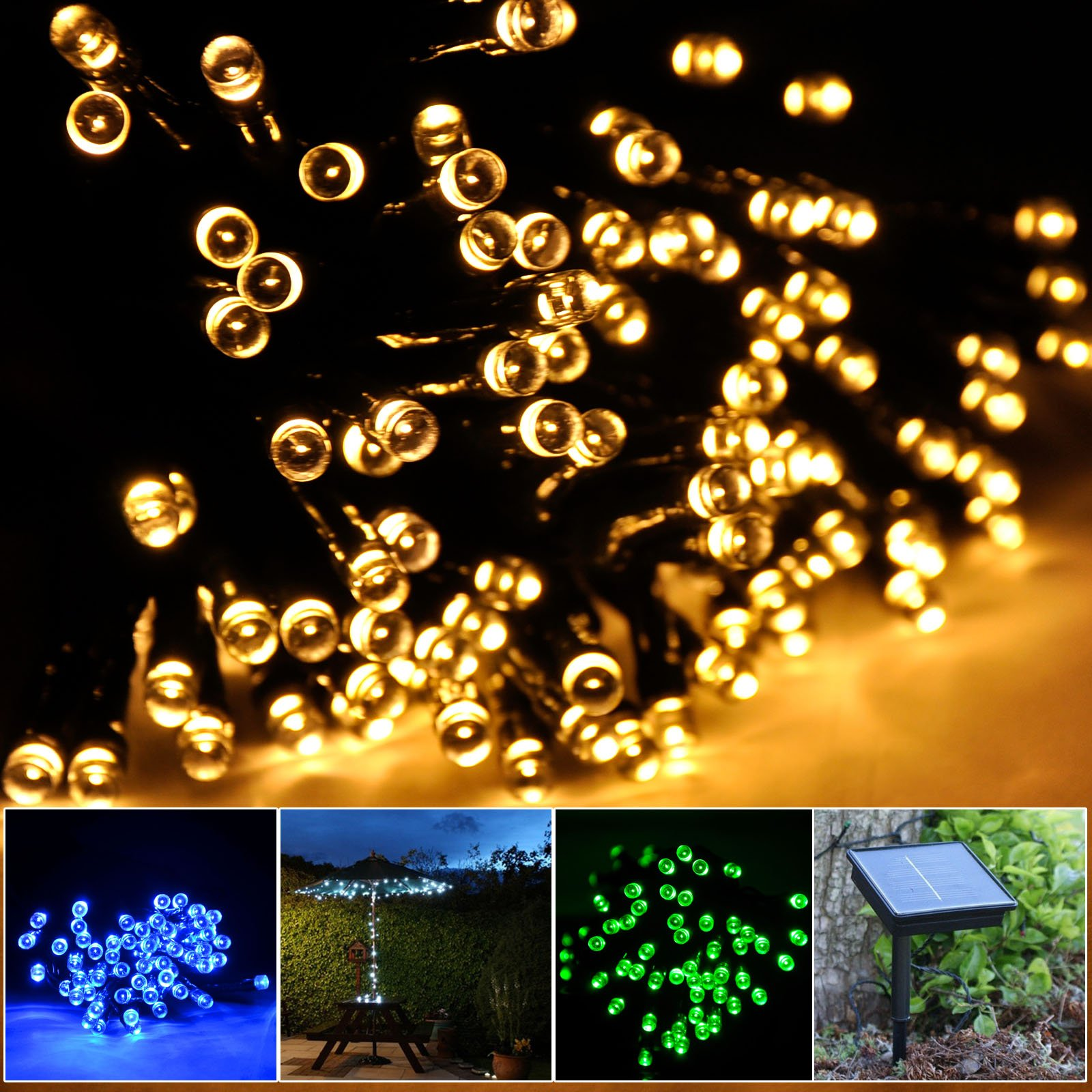 lychee Solar powered string light 55ft 17m 100 LED Solar Fairy light string Garden,Outdoor,Home,Christmas Party (17m 100Leds, Warm White) by lychee