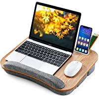Lap Desk Height Adjustable - Fits up to 15.6 inch Laptop, Ohuhu Portable Wood Lap Laptop Desk with Soft Pillow Cushion…