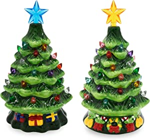 """Joiedomi 2 Sets 7"""" Ceramic Christmas Tree with Candy and Gift Box Design, Mini Prelit Tabletop Christmas Tree with Extra Blue Star Topper & Bulbs for Best Desk Decoration"""