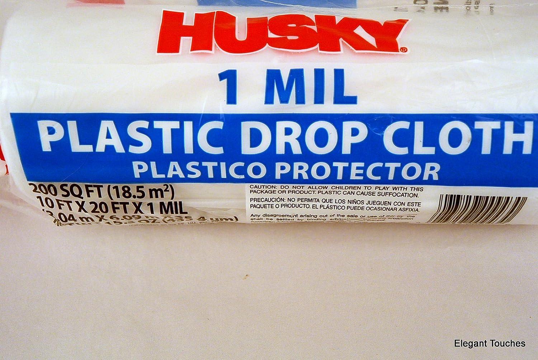 Husky clear plastic 1 ml drop cloth 10 ft x 20 ft 200 sq ft husky clear plastic 1 ml drop cloth 10 ft x 20 ft 200 sq ft amazon publicscrutiny Gallery