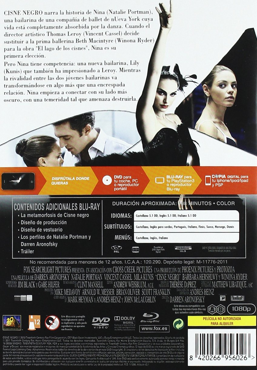 Amazon.com: Cisne Negro (Dvd + Br + Copia Digital) [Blu-Ray] [Dvd] (2011) Christopher Gar: Movies & TV