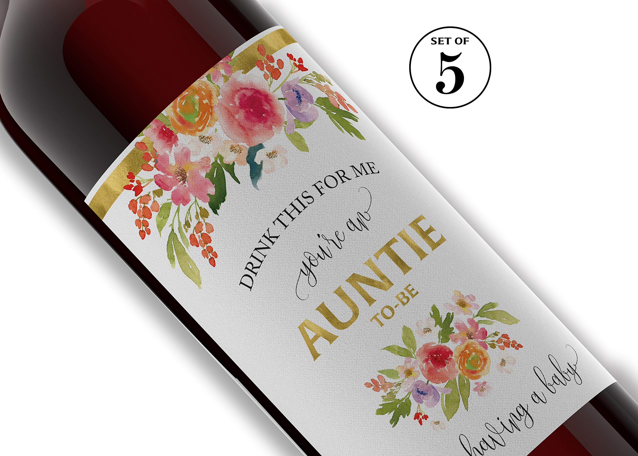 Drink This For Me - You're An Auntie-To-Be ● SET of 5 ● Pregnancy Announcement Wine Labels, Pregnancy Reveal Wine, Alternative to Baby Announcement Card, WEATHERPROOF, We're Pregnant, Black, 905G-5A1