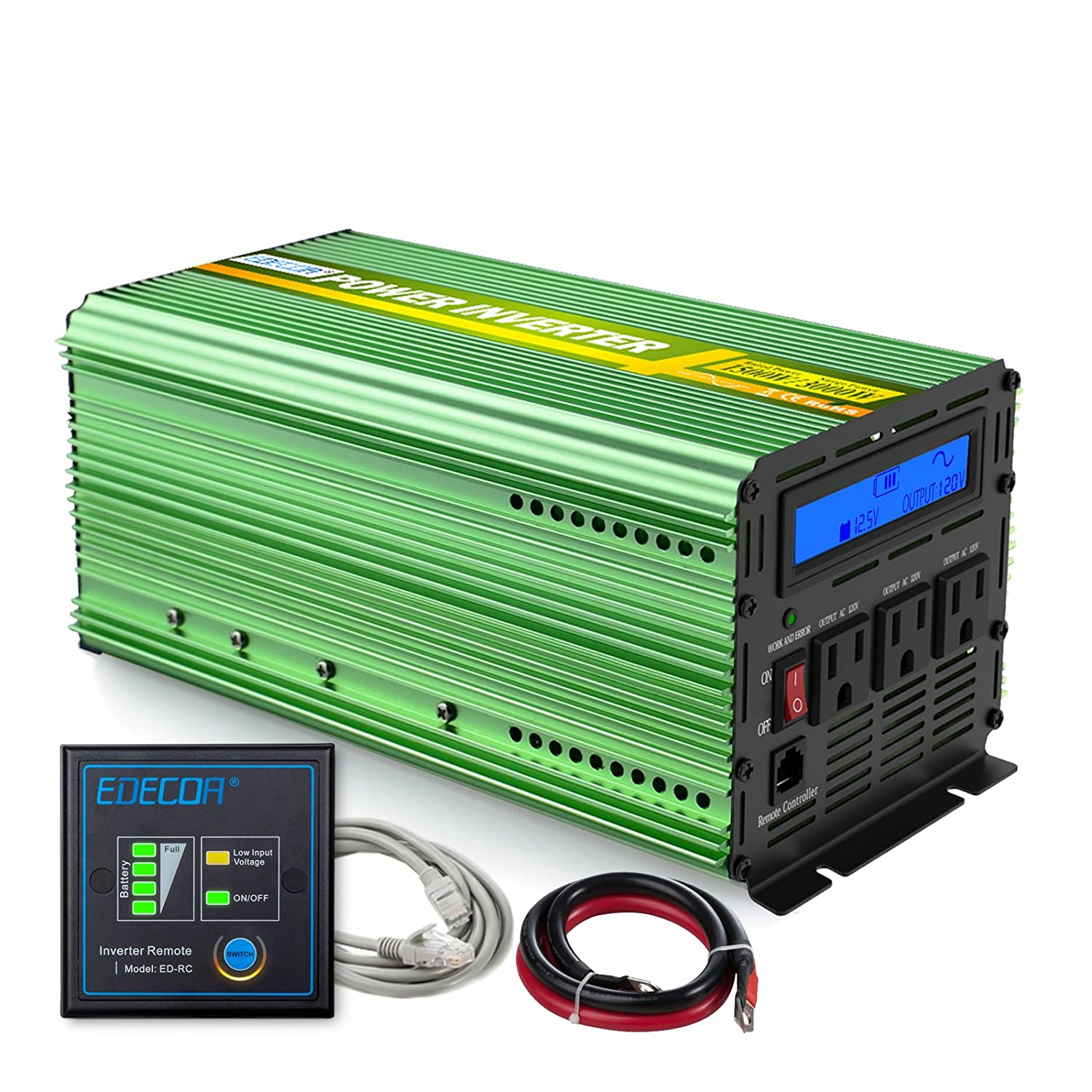 Edecoa Pure Sine Wave Power Inverter 1500w Peak 3000w Dc 1990 Dodge Ram Fuse Box 12v To 110v Ac With Lcd Display And Remote Car Electronics