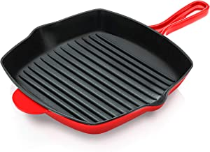 NutriChef Nonstick Cast Iron Grill Pan - 11-Inch Kitchen Square Cast Iron Skillet Grilling Pan, Enameled Cast Iron Skillet Steak Pan w/ Side Drip Spout For Electric Stovetop, Induction, Gas - NCCIES47