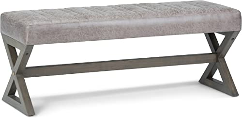 Simpli Home Salinger 48 inch Wide Rectangle Ottoman Bench Distressed Grey Taupe Footrest Stool, Faux Air Leather for Living Room, Bedroom, Contemporary Modern