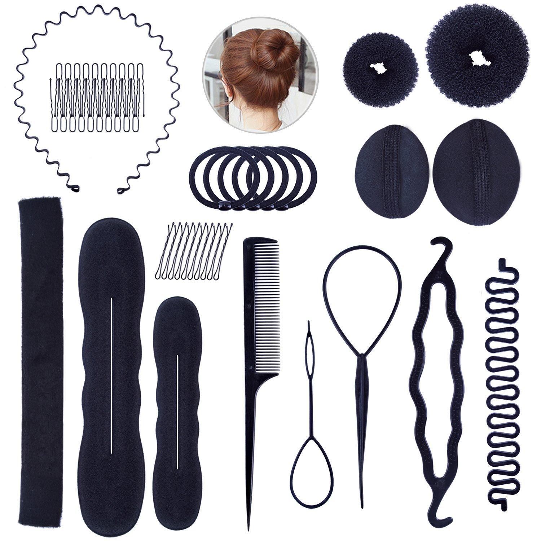 48pcs Hair Design Styling Accessories Hair Bun Makers Hair Clips Headband Hair Bands Comb Hair Braiding Tools Hair Modeling Tool Set for Women and Girls euhuton