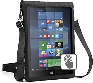 """USA Gear 12-Inch Tablet Case Neoprene Sleeve Cover with Built-in Screen Protector & Carry Strap - X T12 Fits Galaxy Book 10.6"""" / Huawei MateBook 12"""" / Lenovo Ideapad Miix 700, More 12"""" Tablets"""