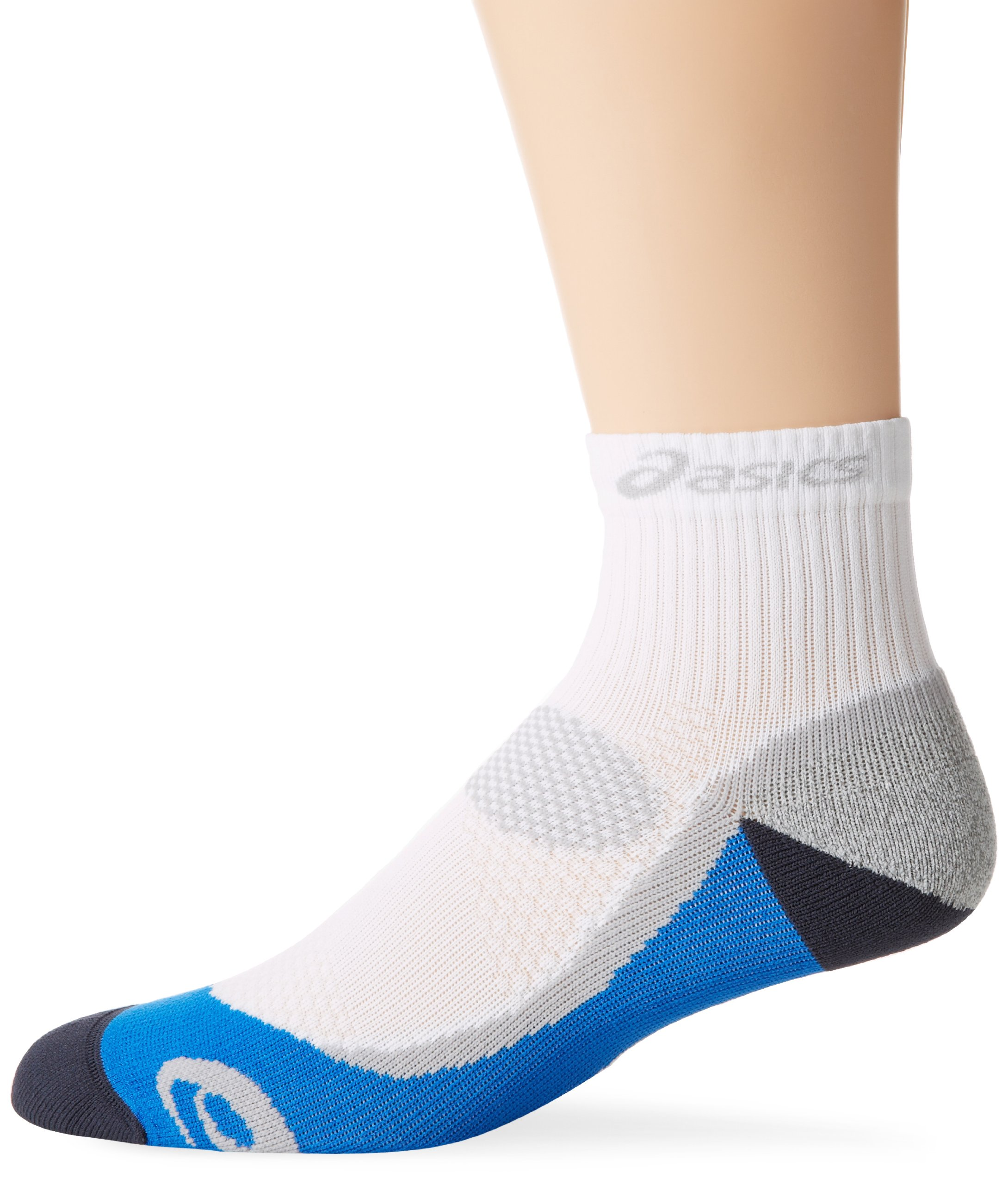 ASICS Kayano Classic Quarter Socks, White/Iron/Fresh Blue/Frost, 1-Pair, X-Small