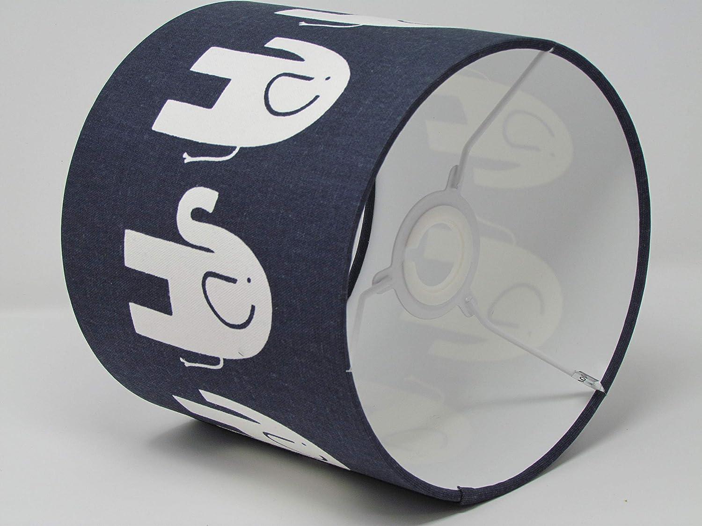 Handmade Navy Blue Cute Elephant Drum Fabric Lampshade Lightshade