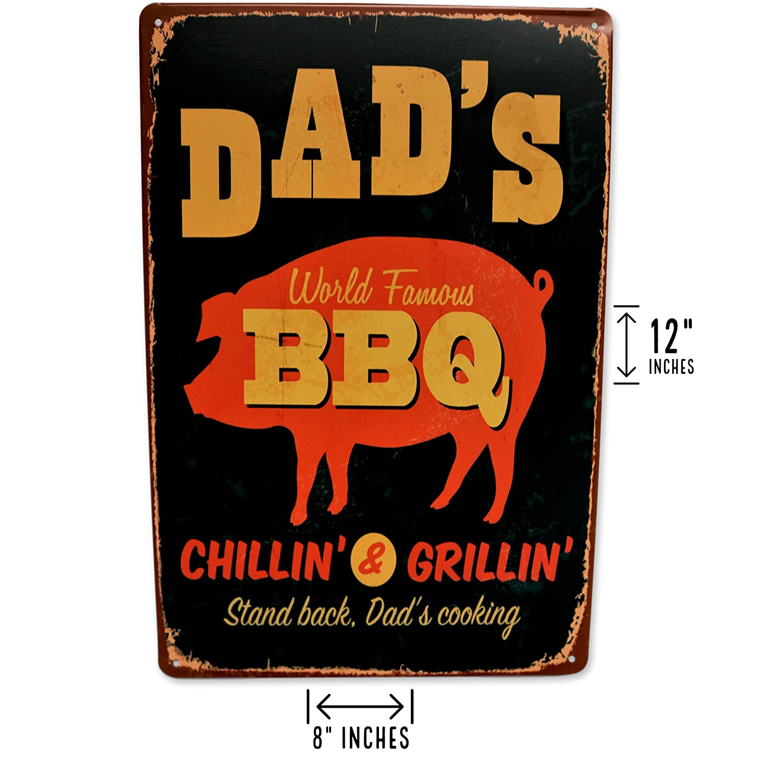 Man Cave or Bedroom Garage Backyard Grill area BBQ signs Size: 8x12 Save Directly Kitchen Dads BBQ Sign Retro Vintage BBQ Decor Perfect for your Home