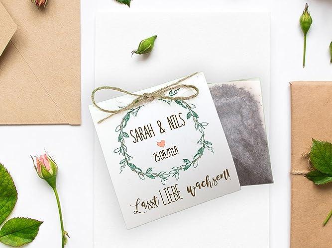 Gastgeschenk Zur Hochzeit Personalisiert Inkl Blumensamen Forever
