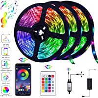 39.42FT/12m LED Strip Lights Flexible Strip Light with Bluetooth Controller Changing Tape Lights kit with LED Sync to Music for TV, Bedroom, Kitchen Under Counter, Under Bed Lighting (3×4M)