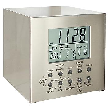 Natico cubo de acero inoxidable reloj de mesa con múltiples funciones de cuenta atrás (10