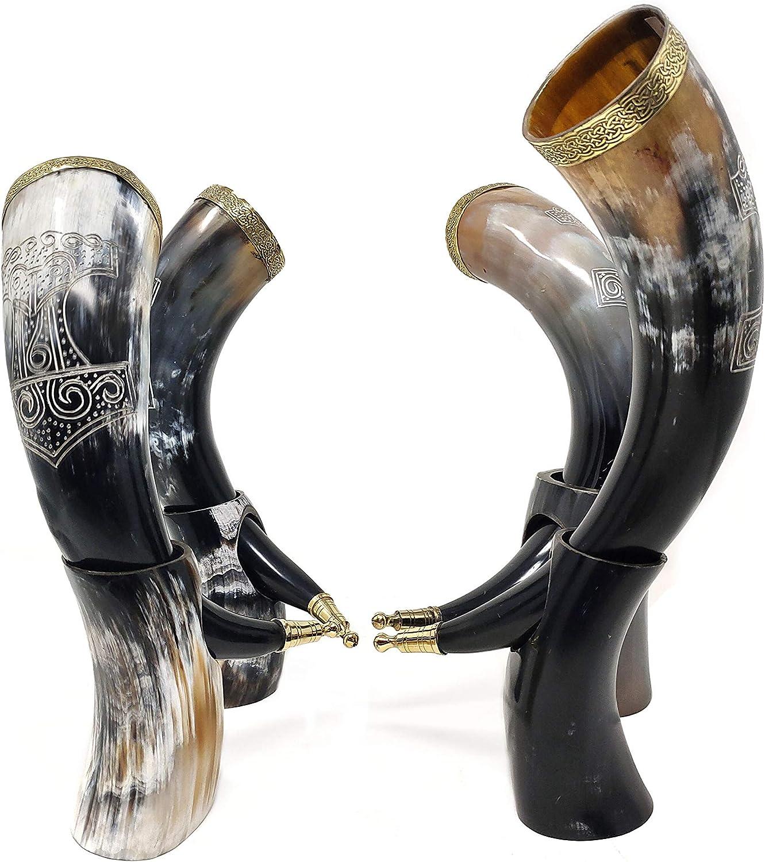 Bhartiya Handicrafts Goblets Viking Drinking Horn Mug for Beer, Mead, Ale, Ceramic Medieval Inspired Food Safe Mug   Game of Thrones Horn with Stand (Thor Hammer, 13'' Large 200-400 ml Capacity)