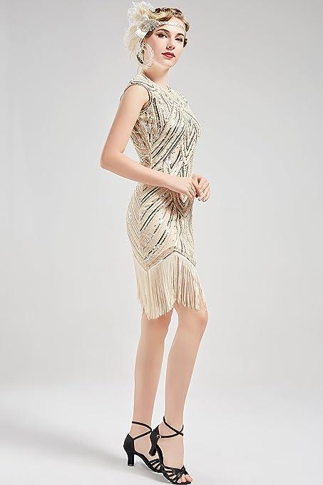 BABEYOND Flapper Vestidos Mujer Vestido de Lentejuelas Estilo 1920 Vestido Vintage con flecos de cuentas Vestido Gran Gatsby: Amazon.es: Ropa y accesorios